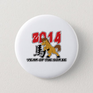 Cute 2014 Year of The Horse 6 Cm Round Badge