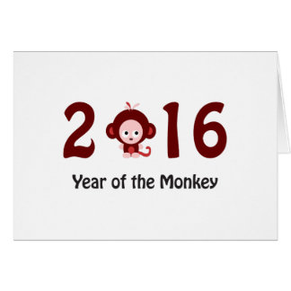 Cute 2016 year of the monkey card