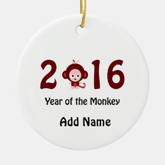 Cute 2016 year of the monkey round ceramic decoration