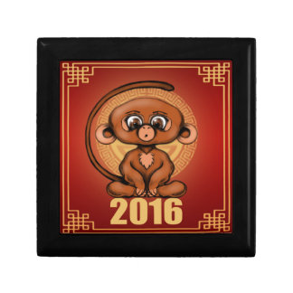 Cute 2016 Year of the Monkey Small Square Gift Box