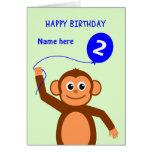 Cute 2nd birthday monkey add name blue greeting card