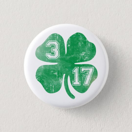 Cute 3/17 St Patrick's Day Shamrock 3 Cm Round Badge