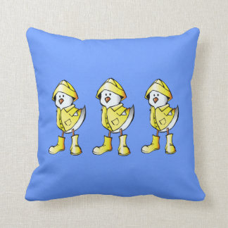 Cute 3 Rainy Day Chicks Reversible Custom Blue Pillow