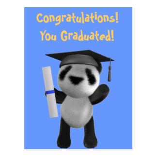 Cute 3d Baby Panda Graduate (editable) Postcards