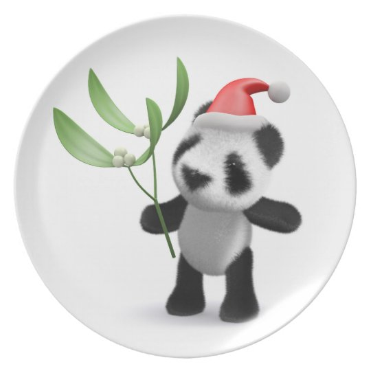 Cute 3d Baby Panda Mistletoe Plate