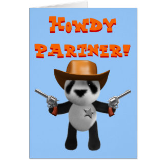 Cute 3d Baby Panda Sheriff Greeting Card