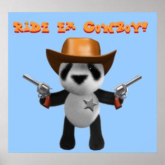 Cute 3d Baby Panda Sheriff Poster
