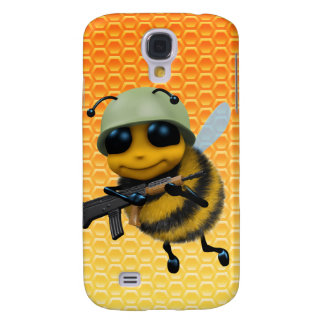 Cute 3d Bee Soldier Honeycomb background Galaxy S4 Case