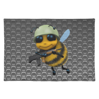 Cute 3d Bee Soldier metallic honeycomb Placemat