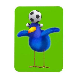 Cute 3d Bird plays Football (editable) Rectangular Photo Magnet