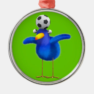 Cute 3d Bird plays Football (editable) Silver-Colored Round Decoration