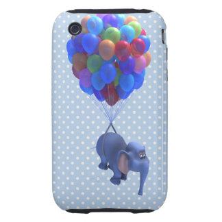 Cute 3d Elephant flying Balloons (editable) Tough iPhone 3 Cases