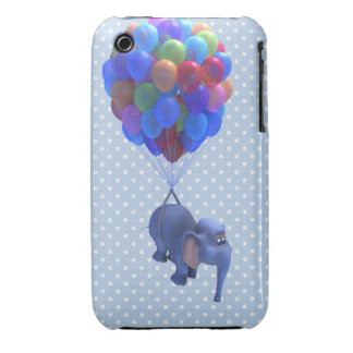 Cute 3d Elephant flying Balloons (editable) iPhone 3 Case