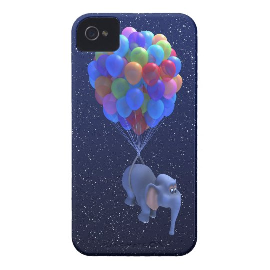 Cute 3d Elephant flying Balloons (editable) iPhone 4 Case-Mate Cases