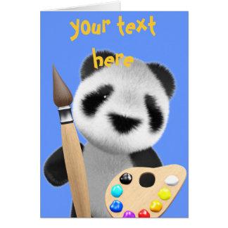 Cute 3d Panda Artist (editable) Greeting Card