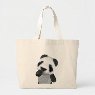Cute 3d Panda Thinks (editable) Jumbo Tote Bag