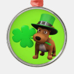 Cute 3d Puppy Dog with Shamrock (editable)