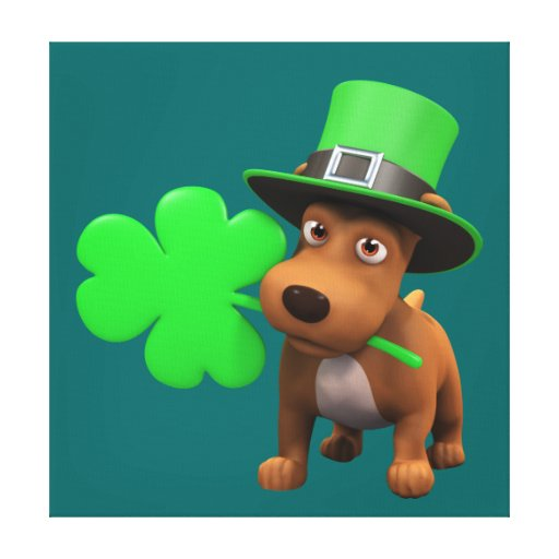 Cute 3d Puppy Dog with Shamrock (editable) Gallery Wrap Canvas