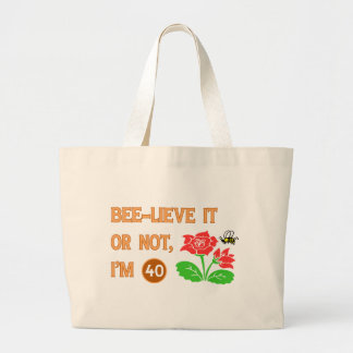 Cute 40th Birthday Gift Idea Large Tote Bag