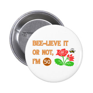 Cute 50th Birthday Gift Idea 6 Cm Round Badge