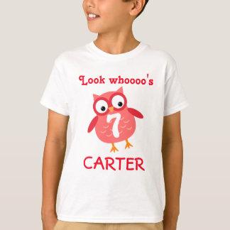 Cute 7th Birthday Unisex Red Owl A07 T-Shirt