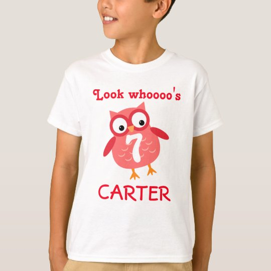 Cute 7th Birthday Unisex Red Owl A07 T-Shirt