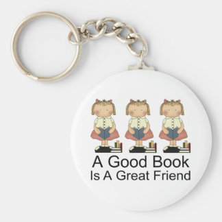 Cute A Good Book is a Great Friend T-shirt Basic Round Button Key Ring