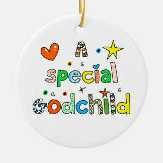 Cute A Special Godchild Text Expression Double-Sided Ceramic Round Christmas Ornament