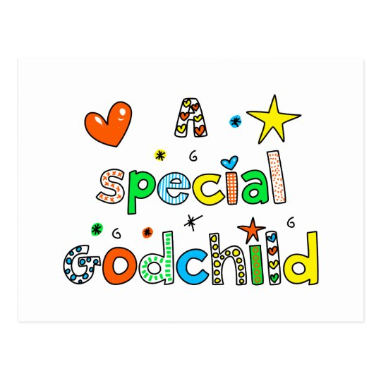 Cute A Special Godchild Text Expression Postcard