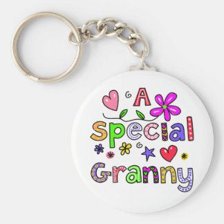 Cute A Special Granny Greeting Text Expression Basic Round Button Key Ring