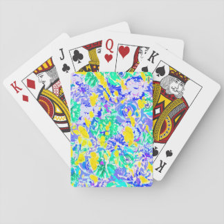 Cute abstract colorful spring flowers playing cards