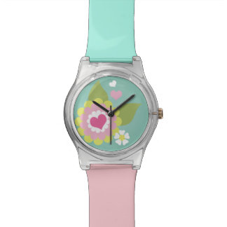Cute abstract floral illustration watch