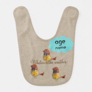 Cute Add Text Bright Birds Baby Bib
