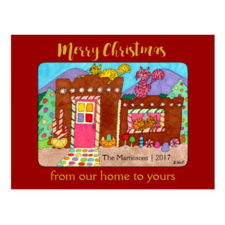 Cute Adobe Gingerbread House & Cats Christmas Postcard