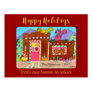 Cute Adobe Gingerbread House & Cats Holiday Postcard