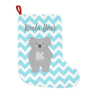 Cute Adorable Australia Baby Koala Bear Monogram Small Christmas Stocking