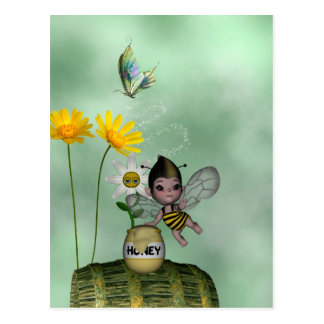 Cute Adorable Baby Bumble Bee Honey Post Card