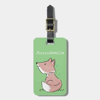 Cute adorable baby fox watercolour illustration luggage tag