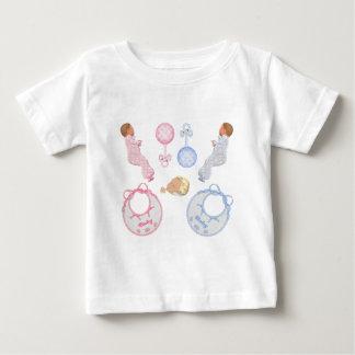 Cute Adorable Baby Shower Crib Nursery Footprints Tee Shirts