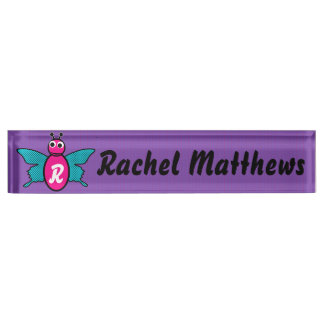 Cute Adorable Butterfly monogram Name Plate