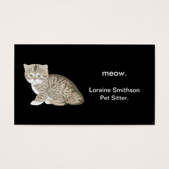 Cute Adorable Cat Pet Sitter or Animal Groomer Business Card