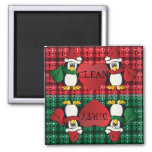 Cute Adorable Christmas Penguins Square Magnet