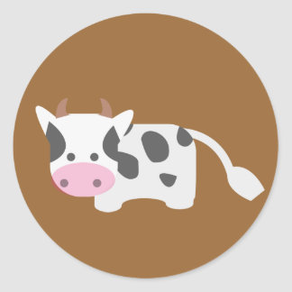 Cute & Adorable Cow Round Sticker
