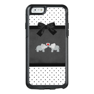 Cute Adorable Elephants,Polka Dots,Black Bow OtterBox iPhone 6/6s Case