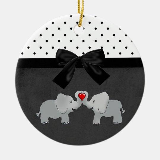 Cute Adorable Elephants,Polka Dots,Black Bow Round Ceramic