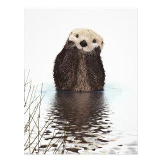 Cute adorable fluffy otter animal 21.5 cm x 28 cm flyer