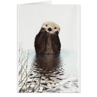 Cute adorable fluffy otter animal card