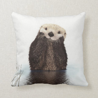 Cute adorable fluffy otter animal cushion