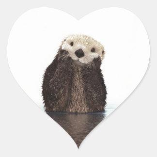 Cute adorable fluffy otter animal heart sticker