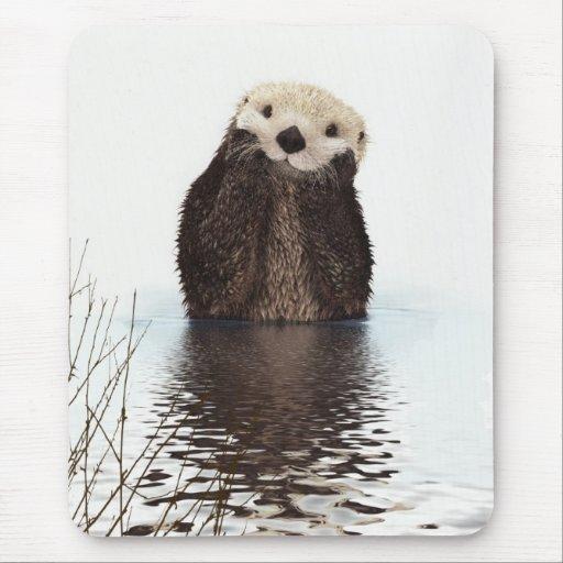 Cute adorable fluffy otter animal mousepad